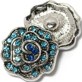 1pc 18mm Snap On Charm Blue Rhinestone Flower ZR1463