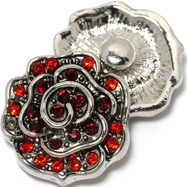 1pc 18mm Snap On Charm Red Rhinestone Flower ZR1464