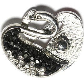 1pc 18mm Snap On Swan Rhinestone Clear Black ZR1477