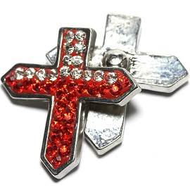 1pc 18mm Snap On Cross Rhinestone Clear Red ZR1479