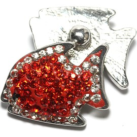 1pc 18mm Snap On Fish Rhinestone Red Clear ZR1482