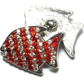 1pc 18mm Snap On Fish Rhinestone Red Clear Lines ZR1483