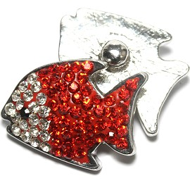 1pc 18mm Snap On Fish Rhinestone Red Clear ZR1484