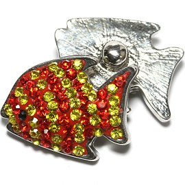1pc 18mm Snap On Fish Rhinestone Red Yellow Lines ZR1485