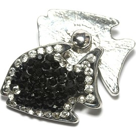 1pc 18mm Snap On Fish Rhinestone Black Clear ZR1487