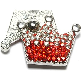 1pc 18mm Snap On Rhinestone Crown Clear Red ZR1511