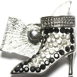 1pc 18mm Snap On Rhinestone High Heel White Black Clear ZR1522