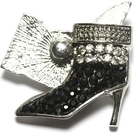 1pc 18mm Snap On Rhinestone High Heel Black Clear ZR1525