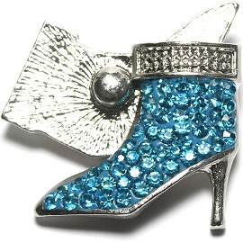 1pc 18mm Snap On Rhinestone High Heel Turquoise ZR1527