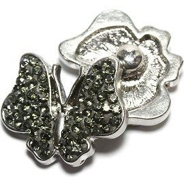 1pc 18mm Snap On Rhinestone Butterfly Gray ZR1555