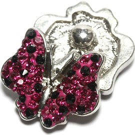 1pc 18mm Snap On Rhinestone Butterfly Magenta Black ZR1556