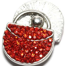 1pc 18mm Snap On Rhinestone Purse Red ZR1559