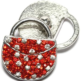1pc 18mm Snap On Rhinestone Purse Red Clear ZR1560