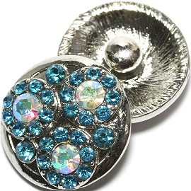 1pc 18mm Snap On Rhinestone Charm Silver Turquoise AB ZR1567