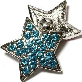 1pc 18mm Snap On Star Rhinestone Teal ZR1587