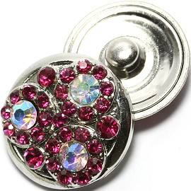 1pc 18mm Snap on Hot pink Rhinestone Clear AB ZR1601