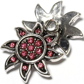 1pc 18mm Snap On Charm Pink Rhinestone Silver Sun ZR1610