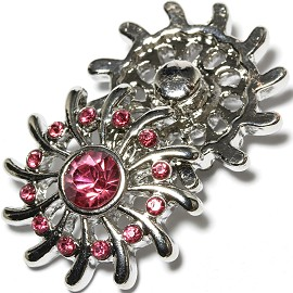 1pc 18mm Snap On Charm pink Rhinestone ZR1623