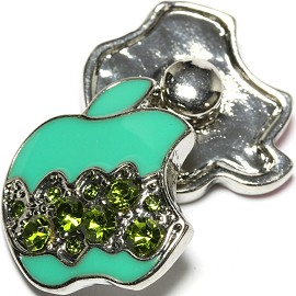 1pc 18mm Snap On Charm Green Apple Rhinestone ZR1628