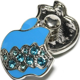 1pc 18mm Snap On Charm Blue Apple Rhinestone ZR1630