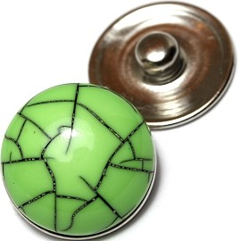1pc 18mm Snap On Charm Round Apple Green ZR164