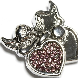 1pc 18mm Snap On Charm Angel purple Rhinestone ZR1640