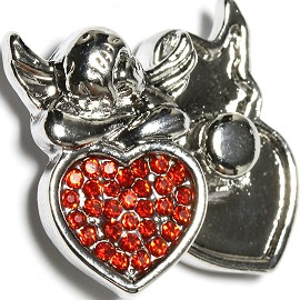 1pc 18mm Snap On Charm Angel Red Rhinestone ZR1642
