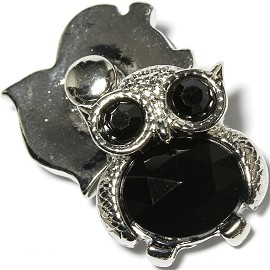 1pc 18mm Snap on Charm Black Gray Owl Rhinestone ZR1651