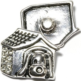 1pc 18mm Snap On Charm Dog House Rhinestone ZR1656