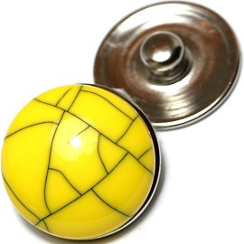 1pc 18mm Snap On Charm Round Yellow ZR166