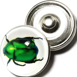 1pc 18mm Snap On Charm Green Bug ZR1672