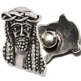 1pc 18mm Snap On Charm Silver Jesus ZR1693