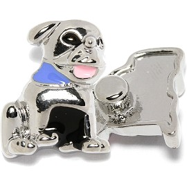 1pc 18mm Snap On Charm Silver Dog ZR1694
