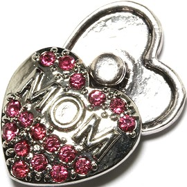 1pc 18mm Snap On Charm MOM Silver Pink Rhinestone ZR1698