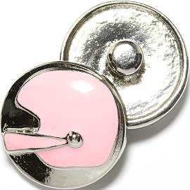 1pc 18mm Snap On Charm Silver Pink Helmet ZR1723