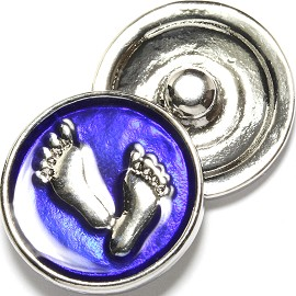 1pc 18mm Snap On Charm Silver Footprint Art Royal Blue ZR1729