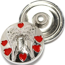 1pc 18mm Snap On Charm Silver Angel Red Heart ZR1755