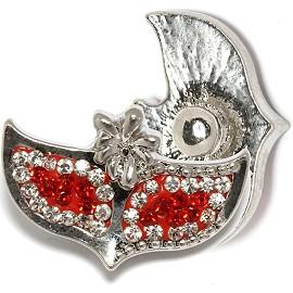 1pc 18mm Snap On Charm Clear Red Rhinestone Fox ZR1764