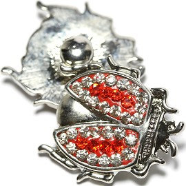 1pc 18mm Snap On Charm Clear Red Bug Rhinestone ZR1812