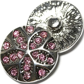 1pc 18mm Snap On Charm PInk Rhinestone ZR1814