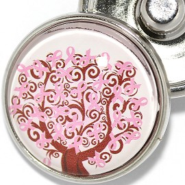 1pc 18mm Snap On Charm Round Breast Cancer ZR1843
