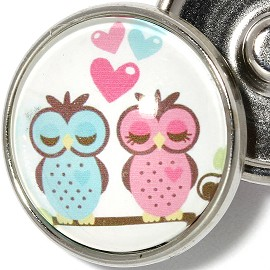 1pc Snap On Charm 18mm Pink Blue Heart Love Owls White ZR1946