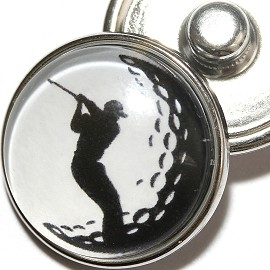 1pc 18mm Golf Ball Silver Snap On Charm ZR1968