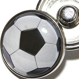 1pc 18mm Soccer Ball white black Snap On Charm ZR1969