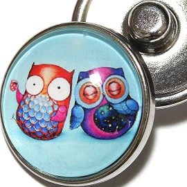 1pc 18mm Owl Multi Color Silver Snap On Charm ZR1977