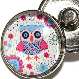 1pc 18mm Owl Silver Snap On Charm ZR1981