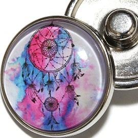 1pc 18mm Pink Blue Dream Cather Silver Snap On Charm ZR1984
