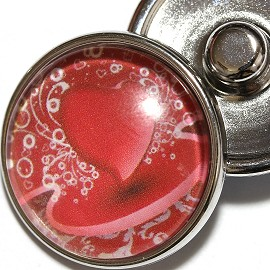 1pc 18mm Red Heart Snap On Charm ZR2002