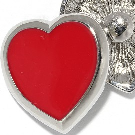 18mm 1pc Snap Charm On Red Heart ZR2044