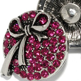 18mm 1pc Snap Charm On Hot Pink Rhinestone Silver Tie ZR2053